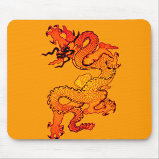 Fiery Orange and Red Dragon Art Mouse Pad