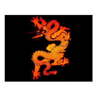 Fiery Orange and Red Dragon Art Postcard
