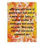 Fiery Orange and Yellow Mixed Media Background Poster