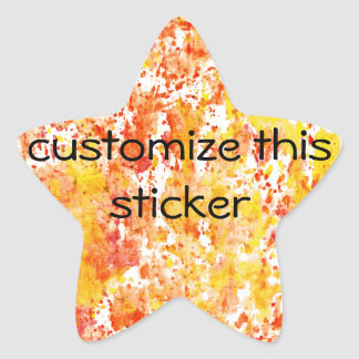 Fiery Orange and Yellow Mixed Media Background Star Sticker