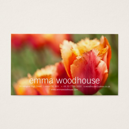 Fiery Orange Fringed Tulip Business Card