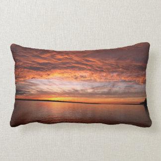 Fiery Orange Sunset Lumbar Pillow