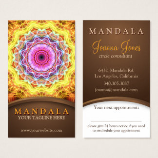 Fiery Passion Holistic Mandala appointment Business Card