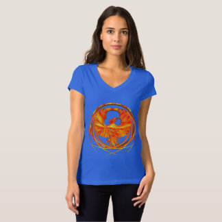 Fiery Phoenix Ladies V-Neck Jersey T-Shirt