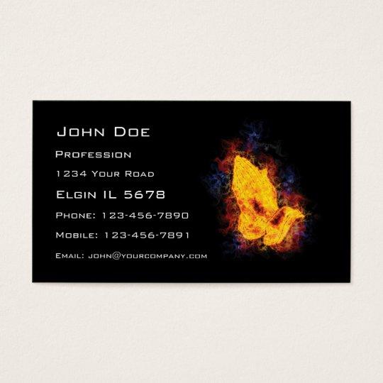 Fiery Praying Hands Business Card
