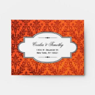 Fiery Punk Rock Damask: Wedding RSVP Linen A2 Envelope