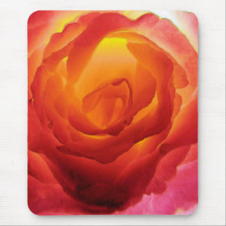 Fiery Red and Yellow Bicolor Rose Watercolor Mouse Pad