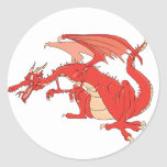 Fiery Red Dragon Classic Round Sticker