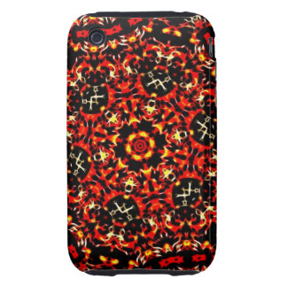 Fiery Red Fractal Pattern Tough iPhone 3 Cover
