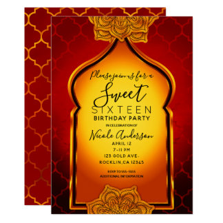 Fiery Red Gold Royal Indian Arabian Sweet 16 Party Card