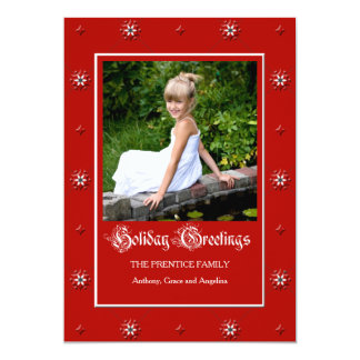 Fiery Red Holiday Photo Card