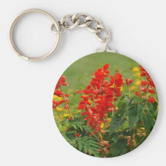 Fiery Red Hot Sally Salvia Flower Garden Keychain