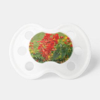 Fiery Red Hot Sally Salvia Flower Garden Baby Pacifier
