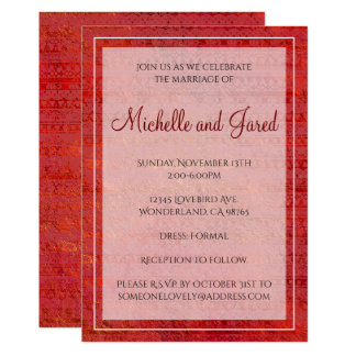 Fiery Red Lacy Foil Stripes Card
