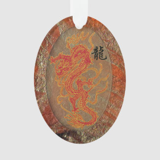 Fiery Red Lucky Dragon with Chinese Character Ornament