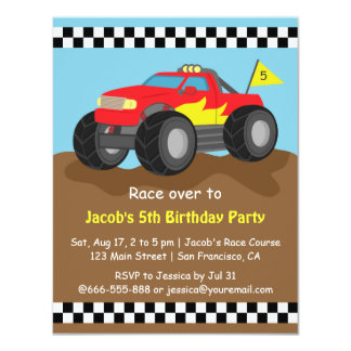 Fiery Red Monster Truck Birthday Party Card