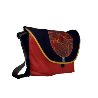 Fiery Red Moon Messenger Bags
