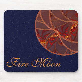 Fiery Red Moon Mouse Pad