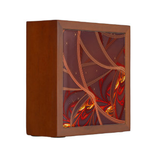 Fiery Red Moon Pencil Holder