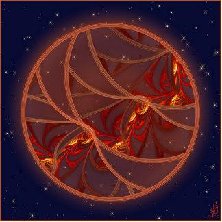 Fiery Red Moon Photo Sculpture Keychain