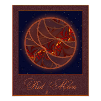 Fiery Red Moon Posters