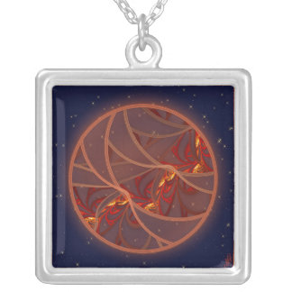 Fiery Red Moon Square Pendant Necklace