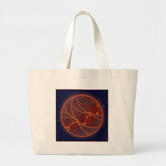 Fiery Red Moon Tote Bags