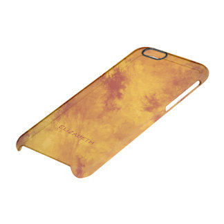 Fiery Red Orange Gold Abstract her name Clear iPhone 6/6S Case