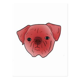 Fiery red pug postcard