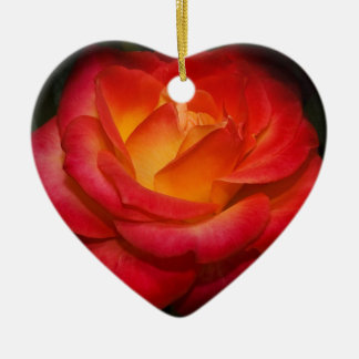 Fiery Red Rose Christmas Tree Ornaments