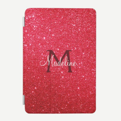 Fiery Red Sparkling Glitter Monogrammed   iPad Mini Cover