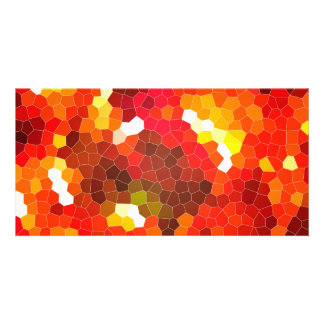 Fiery red stained glass photo card