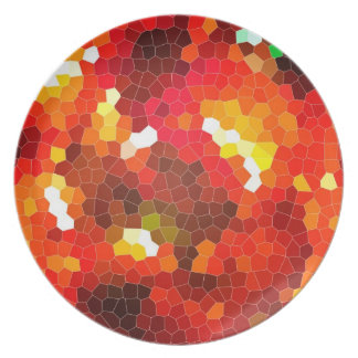 Fiery red stained glass party plates