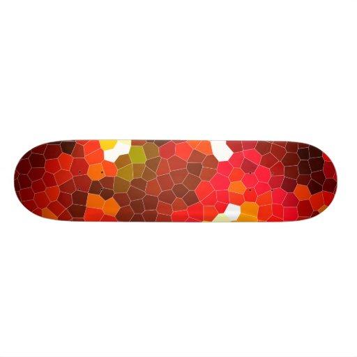 Fiery red stained glass custom skate board