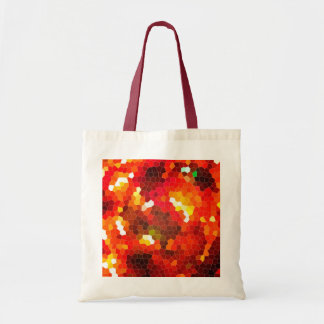 Fiery red stained glass tote bag