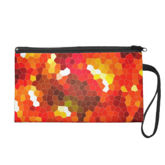 Fiery red stained glass wristlet purse