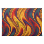 Fiery red yellow blue waves cloth place mat