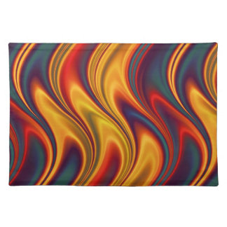 Fiery red yellow blue waves cloth placemat