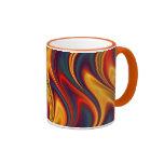 Fiery red yellow blue waves mugs