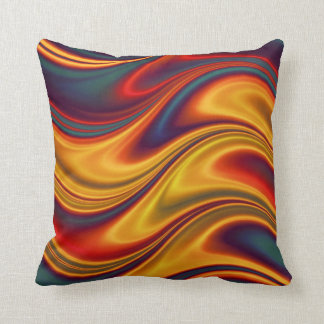 Fiery red yellow blue waves throw pillows