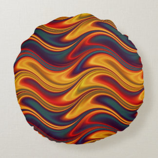 Fiery red yellow blue waves round pillow