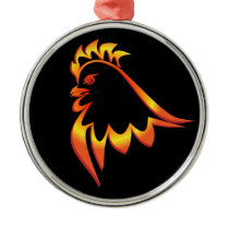 Fiery Rooster Metal Ornament
