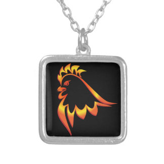 Fiery Rooster Silver Plated Necklace