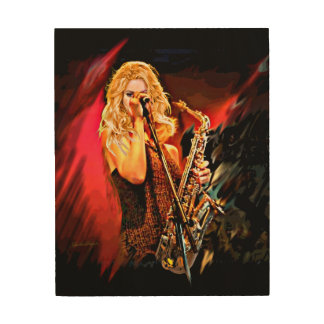 Fiery Saxophone Player Wood Print