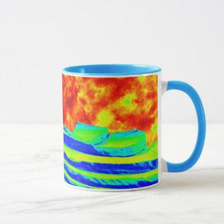 fiery skies and angel wings mug