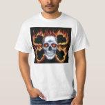 fiery skull and crossbones t-shirt
