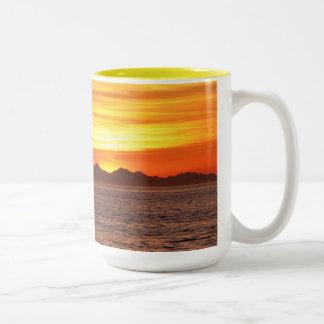 Fiery Sky at Birch Bay Two-Tone Coffee Mug
