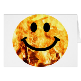 Fiery Smiley Greeting Card