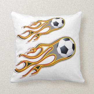 Fiery SOCCER Ball Comet Throw Pillow