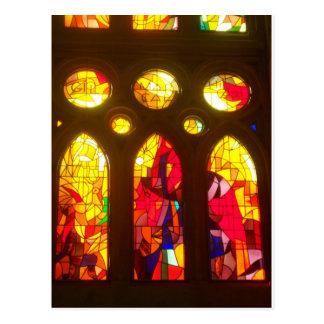 Fiery Stained Glass Windows Postcard